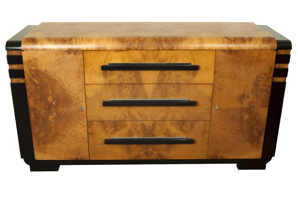 donald deskey art deco walnut burl buffet for hastings table company furniture decophobia. Black Bedroom Furniture Sets. Home Design Ideas